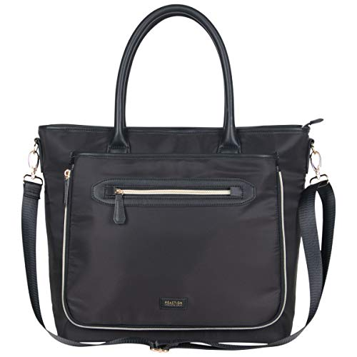 "Kenneth Cole Reaction Women's Silky Polyester Top Zip 15"" (RFID) Laptop Tote Black One Size"