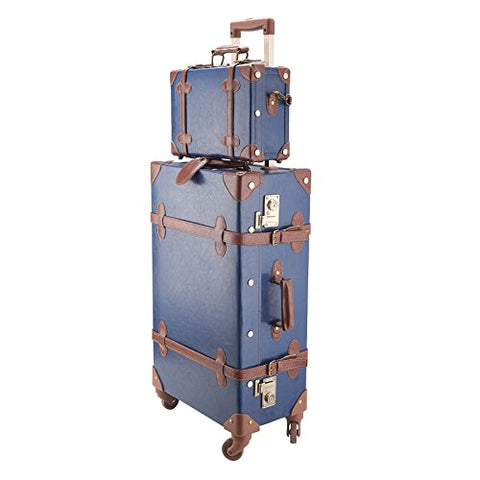 "Co-Z Premium Vintage Luggage Sets 24"" Trolley Suitcase And 12"" Hand Bag Set With Tsa Locks (Pink"