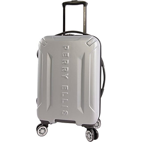 "Perry Ellis Delancy Ii 21"" Hardside Carry-On Spinner Luggage, Silver"