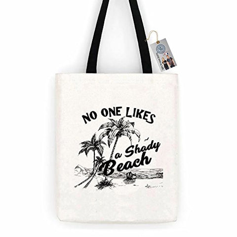 No One Likes Shady Beach Funny Summer Cotton Canvas Tote Bag Carry All Day Bag