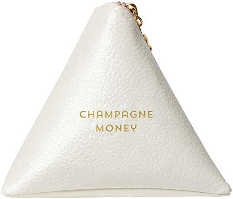 "C.R. Gibson White 'Champagne Money' Keychain Travel Pouch, 3.25"" W x 3.25"" H"