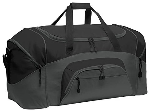 Port & Company Color Block Sport Zipper Duffel Bag_Black/Dark Charcoal_Osfa