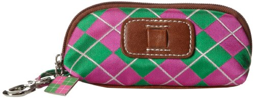 Sydney Love Argyle Golf Ball Holder Cosmetic Case,Pink/Green,One Size