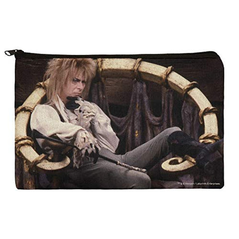 Goblin King Jareth From The Labyrinth Sitting On Throne David Bowie Makeup Cosmetic Bag Organizer