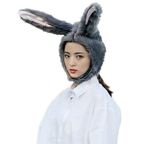 BOBILIKE Plush Fun Bunny Ears Hood Women Costume Hats Warm, Soft and Cozy, Grey2