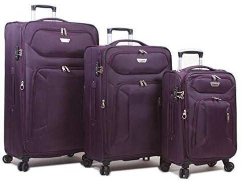 Dejuno Cirrus Lightweight Nylon 3-Piece Spinner Luggage Set-Purple