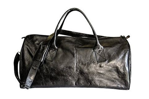 Sharo Leather Bags Black Leather Duffle Carry-On Travel Bag (Black)
