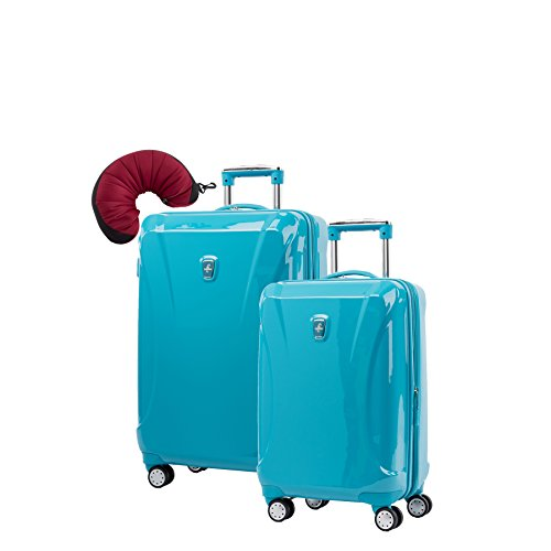 Atlantic Ultra Lite 4 Hardside 21 and 24-Inch Expandable Spinners, Travel Pillow (Turquoise Blue)
