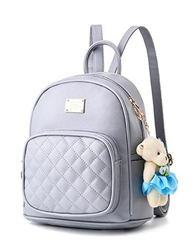 Mogor Women Leather Backpack Purse Satchel School Bags Knapsack For College Grey