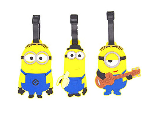Celldesigns Set Of 3 Minions Luggage Tag Suitcase Id Tag With Adjustable Strap (Minions In Jeans)