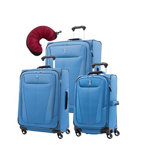 "Travelpro Maxlite 5 | 4-Pc Set | 21"" Carry-On, 25"" & 29"" Exp. Spinners With Travel Pillow (Azure"