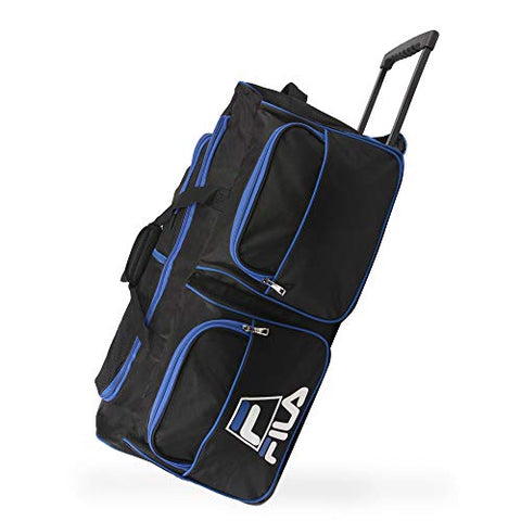 "Fila 30"" 8-Pocket Rolling Duffel, Black/Blue, One Size"