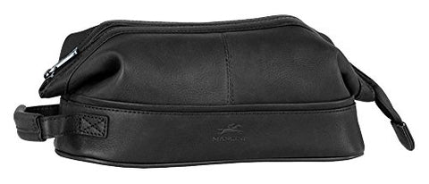 Mancini COLOMBIAN Leather Classic Toiletry Kit with Organizer in Black
