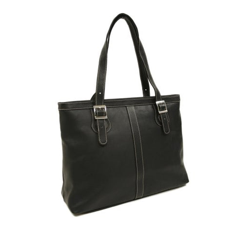 Piel Leather Ladies Laptop Tote, Black, One Size