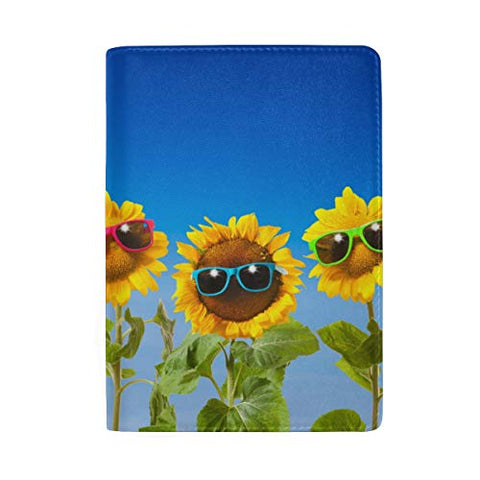 ColourLife Passport Cover Sunflowers With Sunglasses On Blue Leather Passport Holder Cover Case