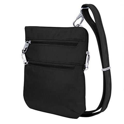 Travelon Anti-Theft Classic Slim Dbl Zip Crossbody Bag, Black