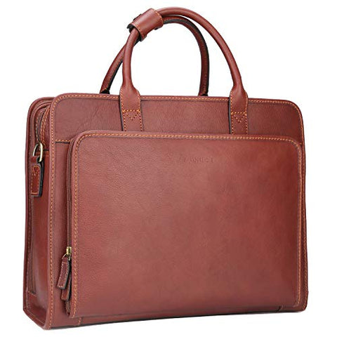 Banuce Vintage Full Grains Italian Leather Briefcase for Men Business Tote Attache Case Shouder