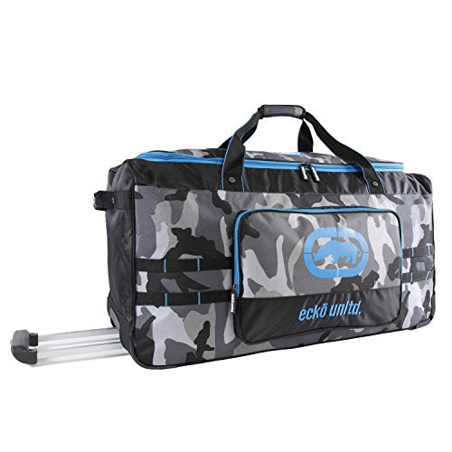 "Ecko Unltd. Men's United 32"" Large Rolling Duffel Bag, Grey Camo/Blue, One Size"