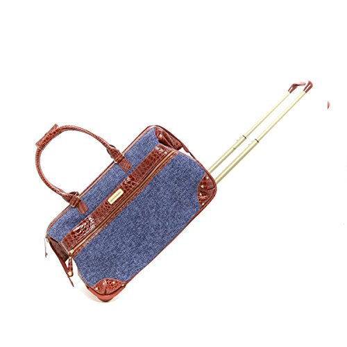 Samantha Brown Tweed Tweed Wheeled Weekender Luggage Set - Blue