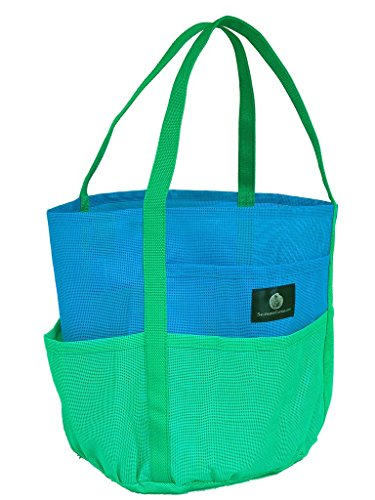 Brt Blue & Green Dolphin Bag, Medium Mesh Beach Bag Tote, 7 pkts , zip pkt