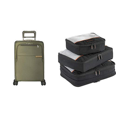 "Briggs & Riley Baseline Olive 22"" Domestic Expandable Carry-On Spinner And Packing Cubes"