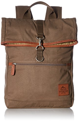 Buxton Men's Expedition Ii Huntington Gear Fold-Over Canvas Backpack, Olive