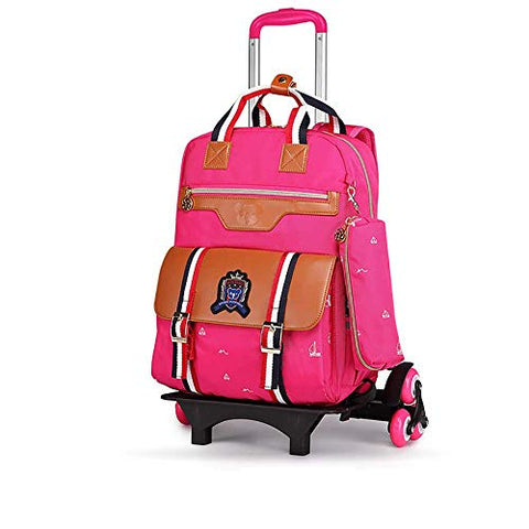 Boy Girl Wheeled Backpacks School Travel Removable Waterproof Rolling Backpack Primary Students