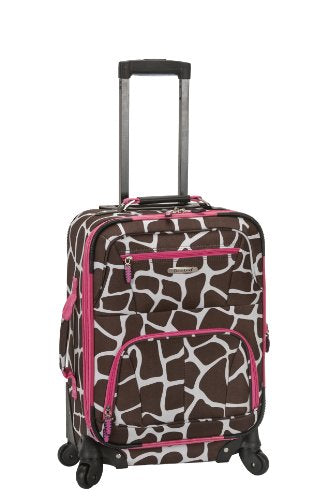 Rockland Luggage 19 Inch Patterned Expandable Spinner Carry On, Pink Giraffe, One Size