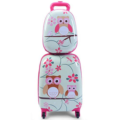 "GHP 16""×12""×8.5"" ABS Kids Owl Shaped Trolley Suitcase Luggage w 12"" School Backpack"