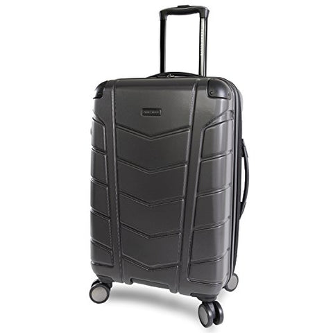 "Perry Ellis Tanner 29"" Hardside Checked Spinner Luggage, Charcoal"