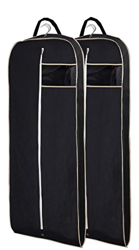 "MISSLO Breathable 54"" Suit Dress Black Garment Bag Gusseted, 2 Pack"