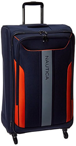Nautica Gennaker 29 Inch Expandable Luggage Spinner, Navy/Orange