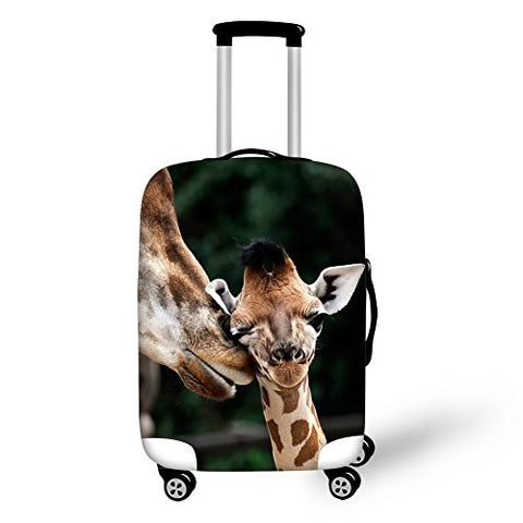 Hugs Idea 26/28/30 Inch Giraffe Print Suitcase Protector Elastic Travel Luggage Cover