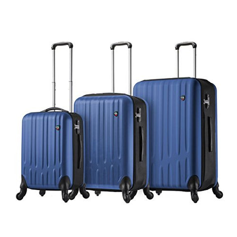 Mia Toro Italy Piega Hardside Spinner Luggage 3pc Set, Blue