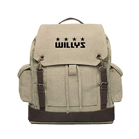 Willys Jeep Freedom Stars Canvas Rucksack Backpack w/Leather Straps, Khaki & Bk