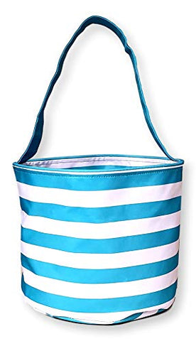 Fabric Bucket Tote Bag for Children - Toys - Easter Basket - Can Be Personalized (Turquoise Stripe)