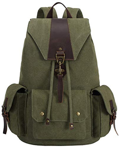 Canvas Vintage Backpack Leather Casual Men Women Laptop Travel Rucksack (Army green-B)