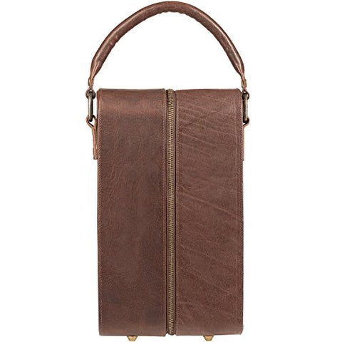Will Leather Goods Double Bottle Leather Wine Case With Padding - Brown