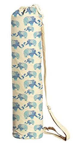Blue Elephants Pattern Printed Canvas Yoga Mat Bags Carriers Was_41