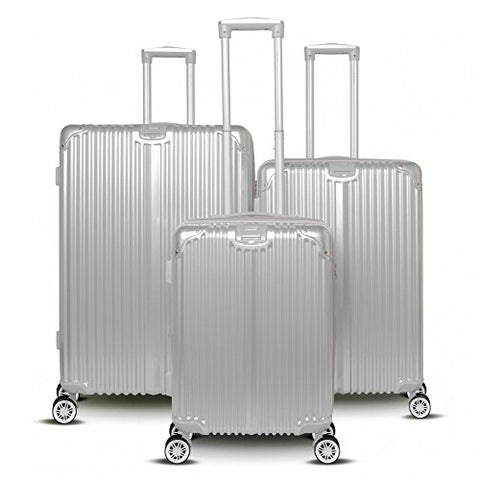 Gabbiano The Macan 3 Piece Expandable Hardside Spinner Luggage Set (Silver)