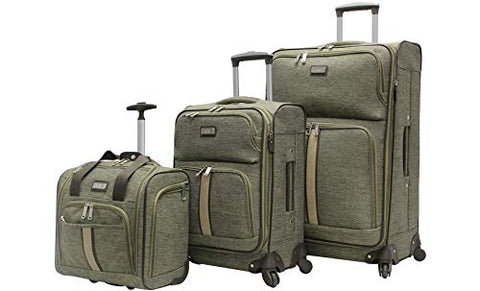 Nicole Miller New York Cameron 3 Piece Softside Spinner Suitcase Set Collection (One Size,