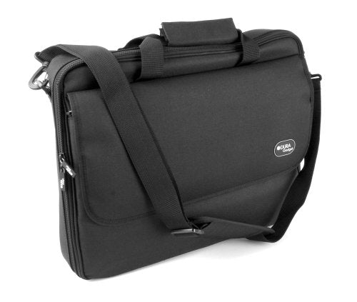 DURAGADGET Water Resistant Black Briefcase With Detachable Shoulder Strap For ASUS X401A Laptop -