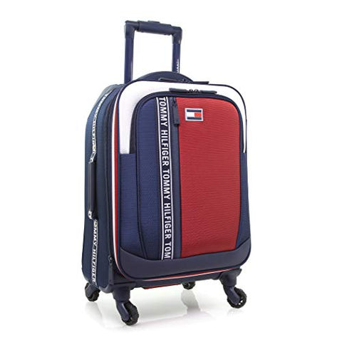 "Tommy Hilfiger 20"" Softside Expandable Spinner Luggage, Navy/Whte/Red"