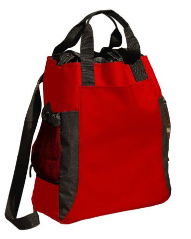 Ultraclub Backpack Tote - Red/ Black - One