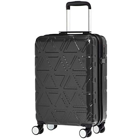 AmazonBasics Pyramid Hardside Carry-On Luggage Spinner Suitcase with TSA Lock - 20 Inch, Black