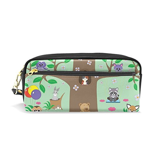 ColourLife Animals Forest PU Leather Pencil Case Holder Pouch Makeup Bags for Boys Girls Adults