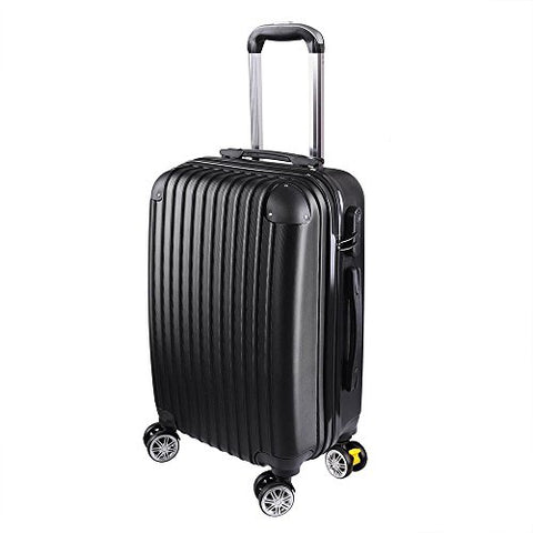 "GHP 210D Polyester ABS Shell 360°-Rotating Wheels Black 20"" Trolley Case Luggage Bag"