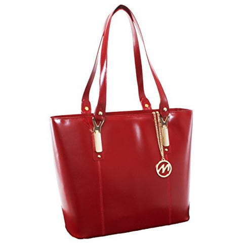 McKlein USA [Personalized Initials Embossing] Womens SAVARNA Leather Shoulder Tote Bag in Red