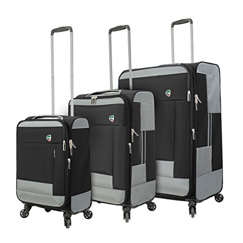 Mia Toro M1136-03pc-blk Italy Sardinia Softside Spinner Luggage 3pc Set, Black