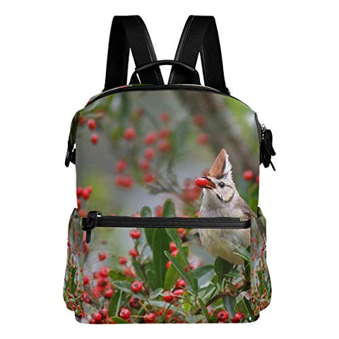 Backpack Red Fruit Beautiful Tree Bird Mens Laptop Backpacks Hiking Bag School Daypack